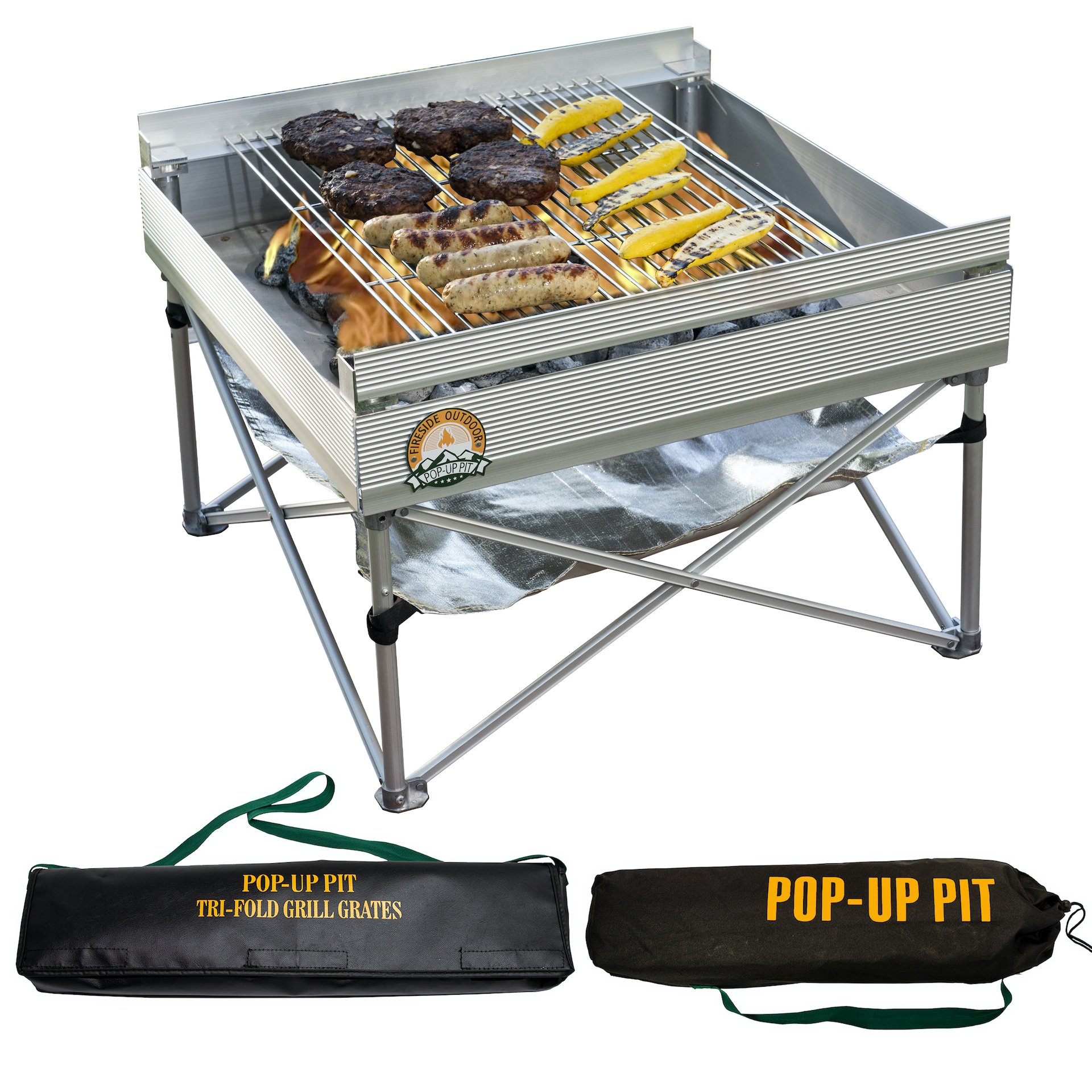 Fireside Outdoor's Pop-Up Fire Pit Outdoor Grill Bundle-Updated