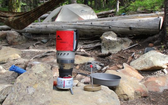 MSR Windburner Stove with Frying pan and coffee press
